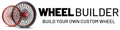 Pair of motorcycle rims with text stating 'Wheel Builder. Build your custom wheel'