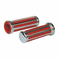 """Twin Power 04-0185 Grip Pair Red Rail Style suit 1"""" Bar (No Sleeve)"""