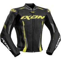 Ixon Vortex 2 Leather Jacket Black/Grey/Bright Yellow