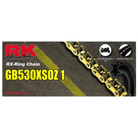 RK CHAIN GB530XSOZ1-124L GOLD-RX-RING STREET / TOURING USE - MOST MOTORCYCLES