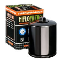 Hiflo Filtro Oil Filter HF170BRC Black (with nut) Big Twin Models 80-98 (exc Dyna) Softail 84-99 & Sportster 84-Later Oem 63796-77a