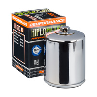 Hiflo Filtro Oil Filter HF170CRC Chrome (with nut) Big Twin Models 80-98 (exc Dyna) Softail 84-99 & Sportster 84-Later Oem 63805-80a