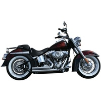 "Rush 5020ST Full Exhaust System Chrome Short Style Straight Cut w/1.50"" Baffle w/Oxygen Sensor for Softail 17"