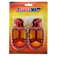 States MX 70-FP5-510E Alloy S2 Off Road Footpegs Orange for all KTM 50-530 95-15/Husqvarna 85-501 14-15/250-650 97-14/Sherco 09-17