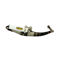 Arrow 33509ENB Extreme White Scooter Exhaust System w/White Painted Aluminium Muffler for Aprilia SR DiTECH 50cc 02-03