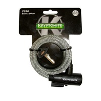 Kryptonite 998488 Keeper 890 Coiled Key Cable 8mm x 90cm (Without Bracket) (3C)