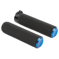 Arlen Ness 07-335 Knurled Fusion Grip Set Blue for H-D Models w/Throttle Cable