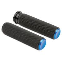 Arlen Ness 07-345 Knurled Fusion Grip Set Blue for H-D 08up w/Throttle-By-Wire