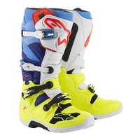 Alpinestars Tech 7 Boots Fluro Yellow/White/Blue/Cyan