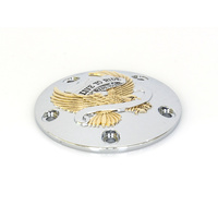 Bailey BAI-30-0187GA Live to Ride Points Cover Chrome/Gold for Twin Cam 99-17