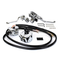 "Bailey H07-0689K Handlebar Control Kit 9/16"" Single Disc Big Twin 96-06 Xl 96-03 w/Chrome Switchs"