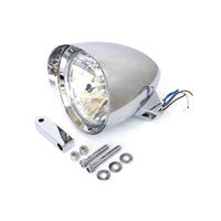 "Bailey L20-6131CVE Headlight 5-3/4"" w/Visor Billet Chrome inc Extended Mount"