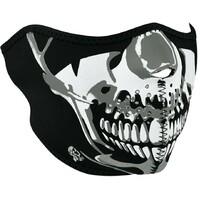ZanHeadgear Neoprene Half Face Mask Chrome Skull WNFM023H