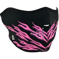 ZanHeadgear Neoprene Half Face Mask Pink Flames WNHM054H