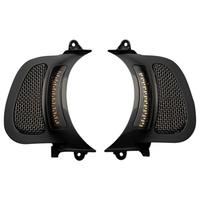 Custom Dynamics CD-CDRGVENT15BB Dynamic LED Vent Inserts w/Amber/White LED's Black w/Black Mesh for Road Glide 15up