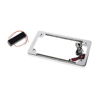 Custom Dynamics CD-TF02C Number Plate Frame Flat Chrome w/ LED Red Brake Light