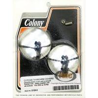 Colony Machine CM-2122-2 Swingarm Pivot Bolt Covers Chrome for Softail 00-07
