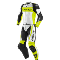 Dainese Mistel 2 Piece Leather Suit White/Fluro Yellow/Black