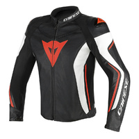 Dainese Assen Leather Jacket Black/White/Fluro Red