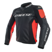 Dainese Racing 3 Leather Jacket Black/Black/Fluro Red