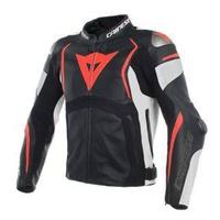Dainese Mugello Leather Jacket Black/White/Fluro Red