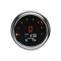 """Dakota Digital DAK-MLX-2000 4-1/2"""" Tank Mount KPH Speedometer w/Tachometer Chrome for Big Twin 36-03"""