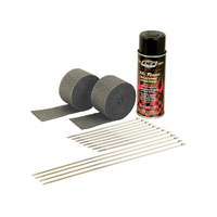 "DEI 901330 Exhaust Wrap Kit Black 2""x 15ft Stainless Steel Lock Ties HT Silicone Spray"