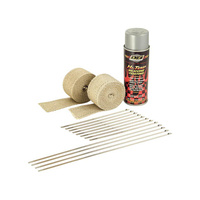 "DEI 901331 Exhaust Wrap Kit 2""x 15ft Stainless Steel Lock Ties Aluminum HT Silicone Spray"