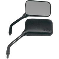 Emgo E2078203 Universal True Vision Mirrors w/Short Stem Black (Pair)