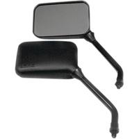 Emgo E2078207 Universal True Vision Mirrors w/Long Stem Black (Pair)