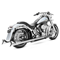 Freedom Performance FPE-HD00203 True Dual Exhaust Chrome w/Chrome Sharktail End Caps for Softail 07-17