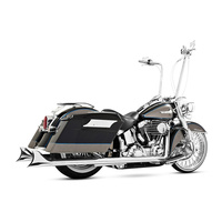 Freedom Performance Exhaust FPE-HD00323 True Dual Exhaust System Chrome w/Chrome Sharktail End Caps for Softail 07-17