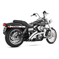 Freedom Performance FPE-HD00438 Radical Radius Exhaust Chrome w/Black End Caps for Dyna 06-17