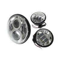 "Hoglights HOG-5590BA-CHR LED 7"" Headlight & 4-1/2"" Passing Lamps Bundle Chrome"