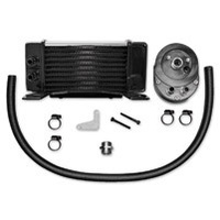 Jagg JAG-750-2380 Horizontal Low-Mount Oil Cooler Kit Chrome 10 Row 84-08 FLH Touring