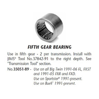 Jims Machine JM-35051-89 5th Gear Bearing Big Twin 91-06 (2req) & XL 91-Up(2req)
