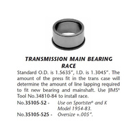 Jims Machine JM-35105-52 Transmission Main Bearing Race XL'54-83