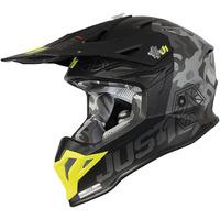 Just 1 J39 Helmet Kinetic Matte Grey Camo/Fluro Yellow/Red/Black