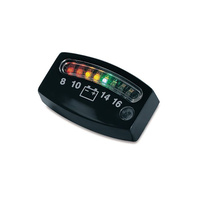 Kuryakyn K4218 Battery Gauge Black w/LED Indicator Lights (Universal Fit)