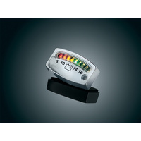 Kuryakyn K4219 Battery Gauge w/Indicator LED Lights Chrome