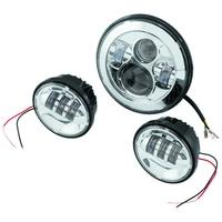 "Letric Lighting Co LLC-LHK-7C 7"" Headlight & 4.5"" Passing Lamp Insert Bundle Chrome for Harley-Davidson w/7"" Headlights & 4.5"" Passing Lamps"
