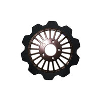 """Lyndall Racing Brakes LRB-2103-1138 11.8"""" Front Breakout Crown Disc Rotor Black Band & Black Carrier for Big Twin 06-Up/Sportster 14-Up"""