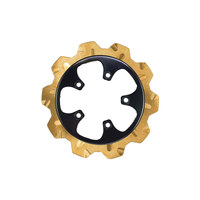 """Lyndall Racing Brakes LRB-2204-3121 11.8"""" Rear Crown Disc Rotor Gold Band & Black Carrier for V-Rod 06-17"""