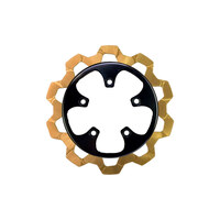 """Lyndall Racing Brakes LRB-4204-3121 11.8"""" Rear Bow-Tie Disc Rotor Gold Band & Black Carrier for V-Rod 06-17"""