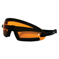 SUNGLASSES BOBSTER EYEWEAR BLACK WITH AMBER LENS SUIT ALL MOTORCYCLE RIDERS
