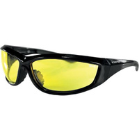 CHARGER SUNGLASSES,YELLOW LENS BLACK FRAME, INCLUDES STORAGE POUCH BOBSTER EYEWEAR ECHA001Y