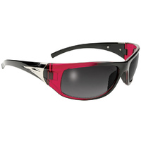 SUNGLASSES, BLACKBIRD BLACK/RED FRAME W/ SMOKE LENS MFG#6304