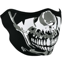 NEOPRENE HALF FACE MASK CHROME SKULL SUIT ALL MOTORCYCLE RIDERS