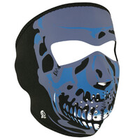 NEOPRENE FULL FACE MASK BLUE SKULL SUIT ALL MOTORCYCLE RIDERS