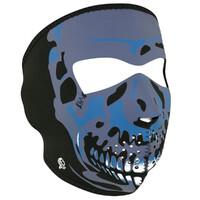 NEOPRENE FULL FACE MASK BLUE SKULL SUIT ALL MOTORCYCLE RIDERS